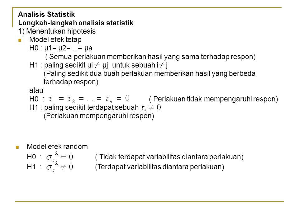 Analisis Statistik Langkah-langkah analisis statistik 1) Menentukan hipotesis Model efek tetap H0 : µ1= µ2=...= µa ( Semua perlakuan memberikan hasil