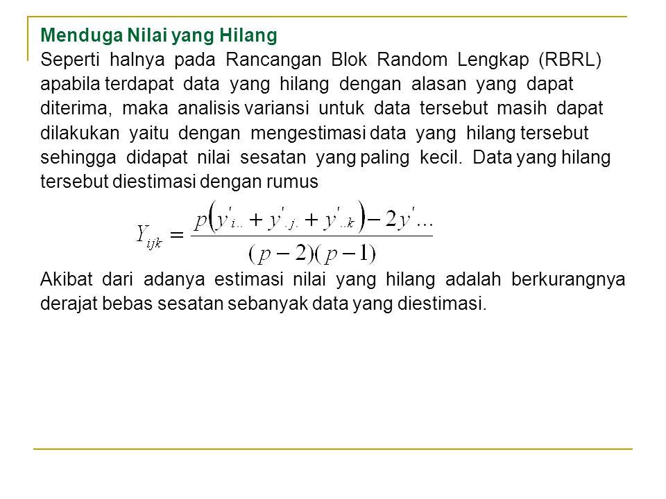 Menduga Nilai yang Hilang Seperti halnya pada Rancangan Blok Random Lengkap (RBRL) apabila terdapat data yang hilang dengan alasan yang dapat diterima