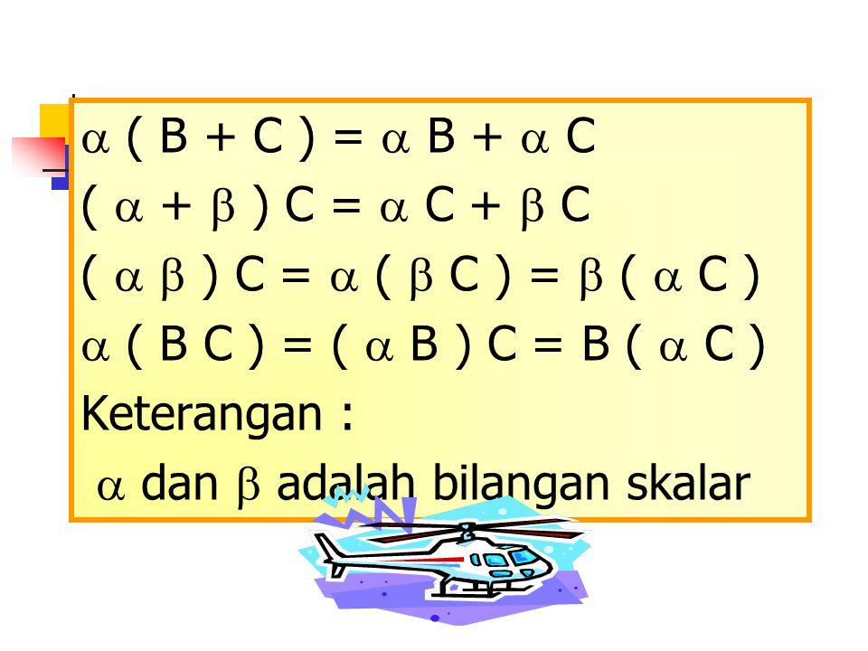  ( B + C ) =  B +  C (  +  ) C =  C +  C (   ) C =  (  C ) =  (  C )  ( B C ) = (  B ) C = B (  C ) Keterangan :  dan  adalah bilang