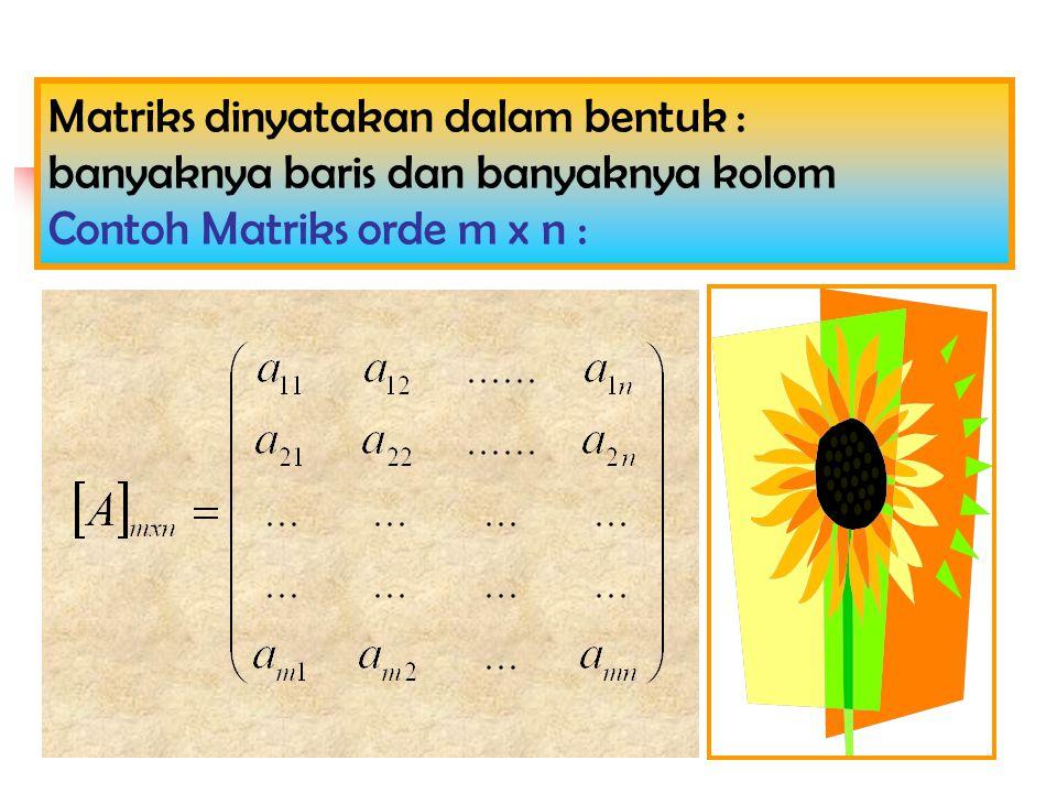 Matriks dinyatakan dalam bentuk : banyaknya baris dan banyaknya kolom Contoh Matriks orde m x n :