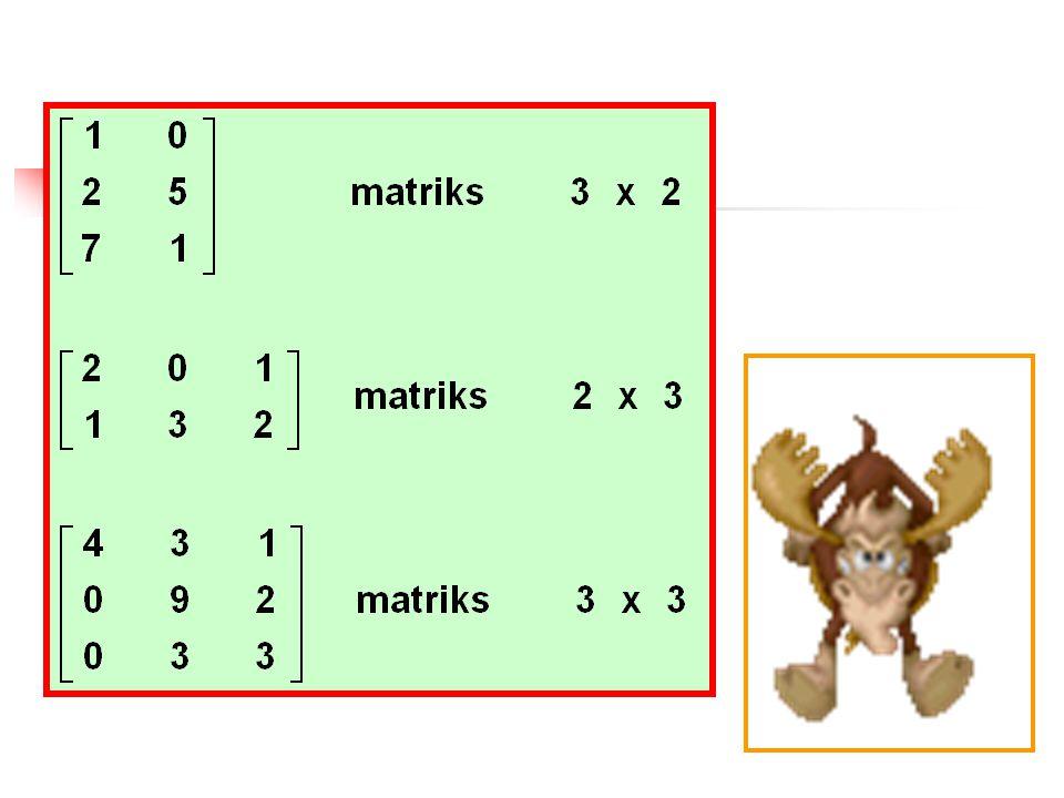Ciri-ciri matriks : Matriks dituliskan dalam huruf kapital Bold Matriks ditandai dengan simbol ( [a ij ] ) Matriks ditandai dengan simbol ( [a ij ] ) Notasi 2 indekssuatu elemen matriks a m x n Notasi 2 indeks suatu elemen matriks a m x n erupakan elemen matriks yang terletak pada baris ke - m dan kolom ke - n merupakan elemen matriks yang terletak pada baris ke - m dan kolom ke - n Elemen Matriks dituliskan dalam numerik yang menyatakan suatu koefisien Elemen Matriks dituliskan dalam numerik yang menyatakan suatu koefisien untuk matriks baris dan matriks kolom dinyatakan dengan huruf kecil tebal