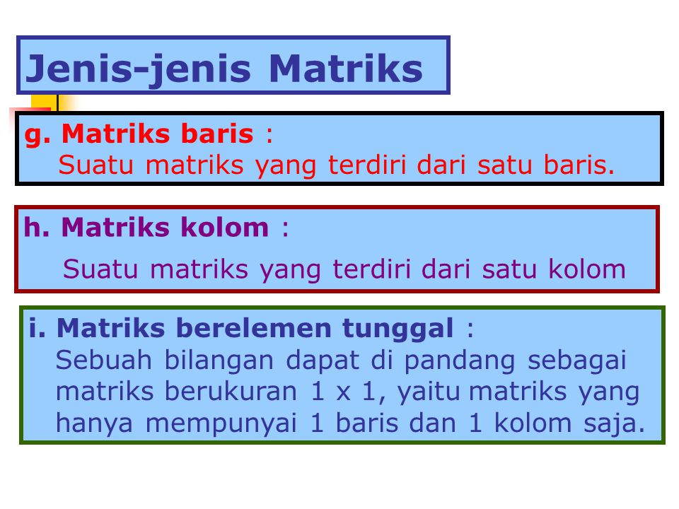 g. Matriks baris : Suatu matriks yang terdiri dari satu baris. h. Matriks kolom : Suatu matriks yang terdiri dari satu kolom i. Matriks berelemen tung