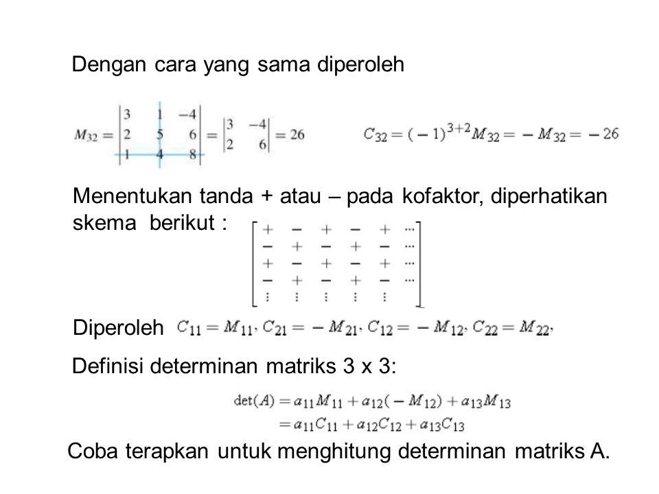 Dengan cara yang sama diperoleh Menentukan tanda + atau – pada kofaktor, diperhatikan skema berikut : Diperoleh Definisi determinan matriks 3 x 3: Coba terapkan untuk menghitung determinan matriks A.