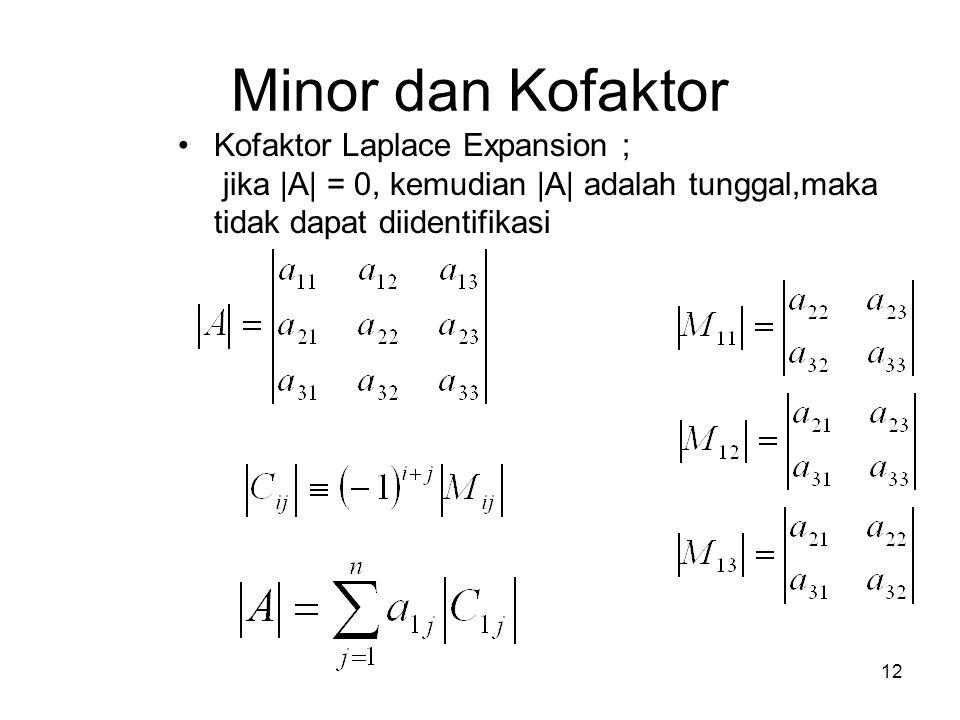 Minor dan Kofaktor Kofaktor Laplace Expansion ; jika |A| = 0, kemudian |A| adalah tunggal,maka tidak dapat diidentifikasi 12