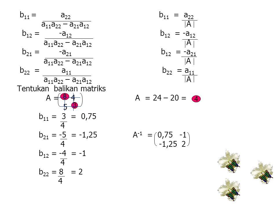 b 11 = a 22 b 11 = a 22 a 11 a 22 – a 21 a 12 A b 12 = -a 12 b 12 = -a 12 a 11 a 22 – a 21 a 12 A b 21 = -a 21 b 12 = -a 21 a 11 a 22 – a 21 a 12 A b
