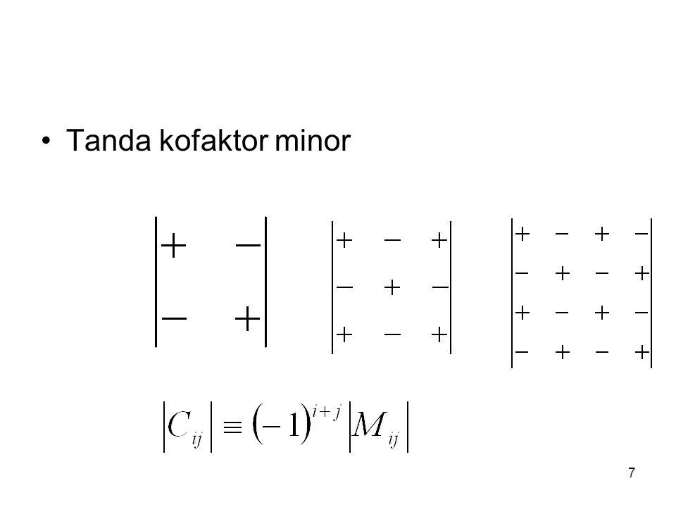Kofaktor Jika A matriks bujur sangkar dengan ordo n dan a ij elemen pada bujur ke i kolom ke j, maka K ij adalah kofaktor dari a ij.
