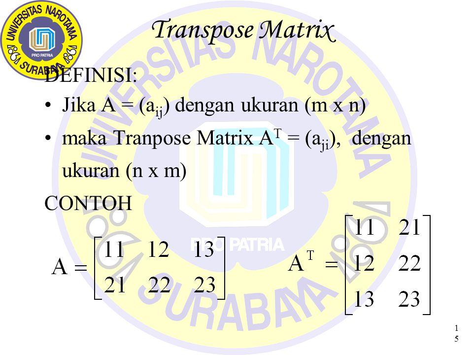 16 Sifat Matrix Transpose 1.(A + B) T = A T + B T 2.(A T ) T = A  (A T ) = ( A) T 4.(AB) T = B T A T