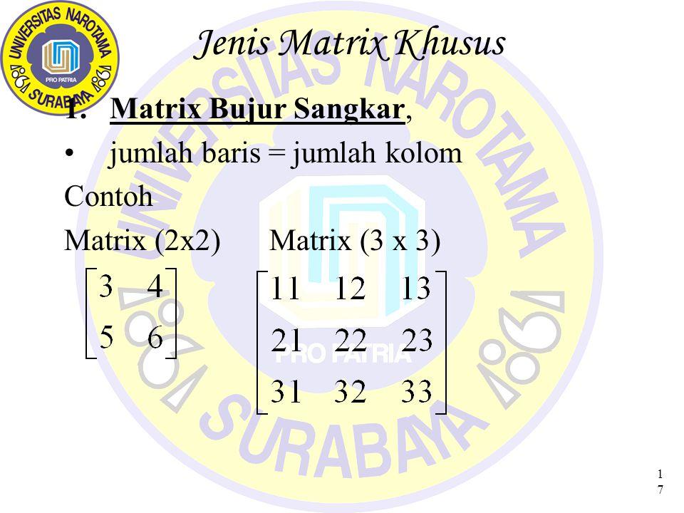 18 Jenis Matrix Khusus (1) 2.Matrix Nol ( O ) Semua elemen = 0 CONTOH Matrix (2x2)Matrix (2 x 3) Matrix (3 x 3) Sifat-Sifat Matrix NOL: a)A + O = A (ukuran A = ukuran O) b)AO = 0; OA = 0 (bila syarat perkalian OK)
