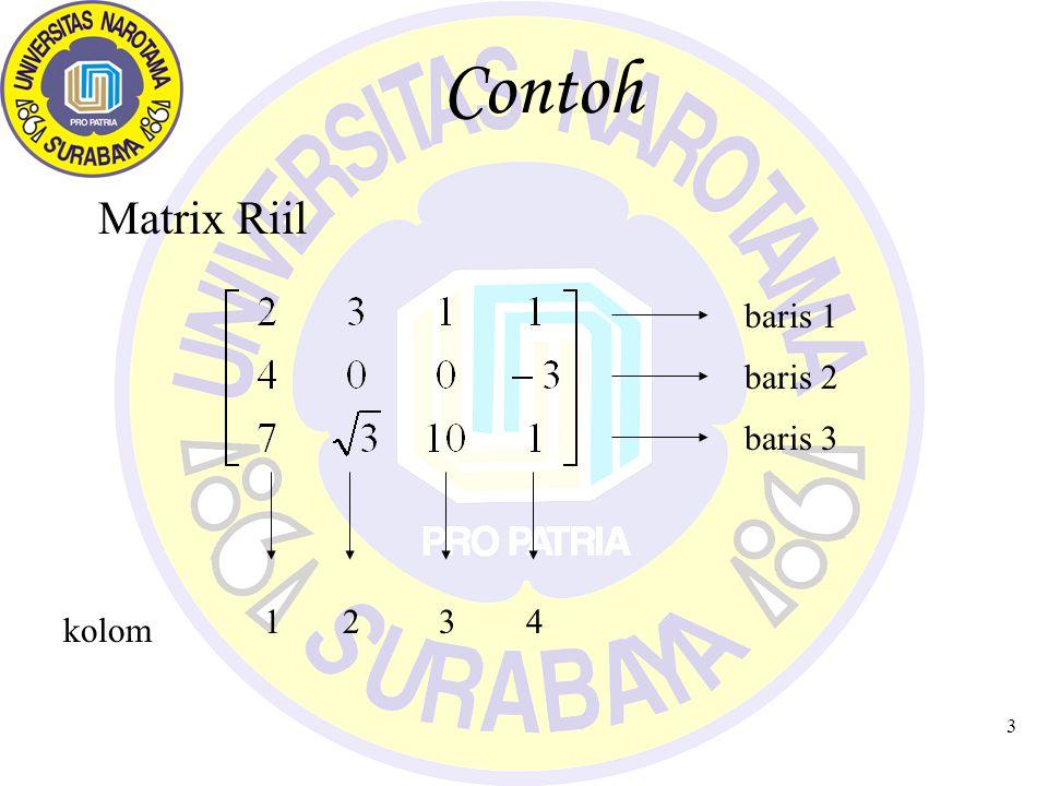 4 Notasi Matrix Nama Matrix dengan huruf Besar A, B, C, P, Q Secara lengkap Matrix A = (a ij ), artinya matrix A dengan elemen (a ij ), dimana : index i adalah baris ke-i, index j adalah kolom ke-j