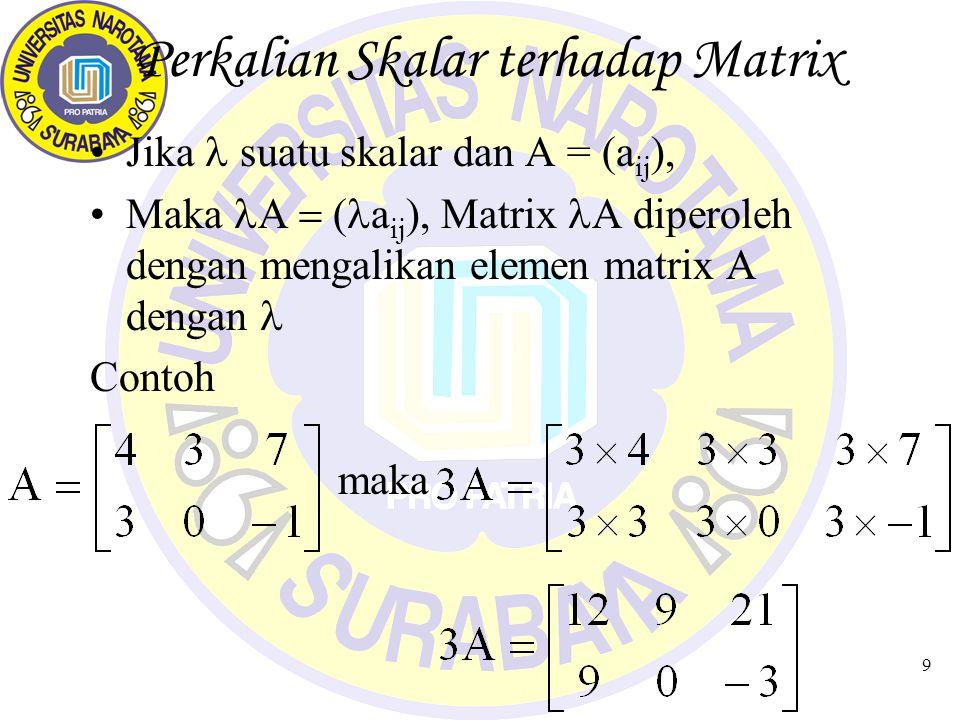 10 Perkalian Matrix Secara umum perkalian Matrix tidak komutatif AB  BA Perkalian Matrix AB; Matrix A = Matrix Pertama Matrix B = Matrix Kedua DEFINISI A = (a ij ) berukuran (p x q); B = (b ij ) berukuran (q x r) Maka Perkalian AB adalah Matrix C = (c ij ) berukuran (p x r)
