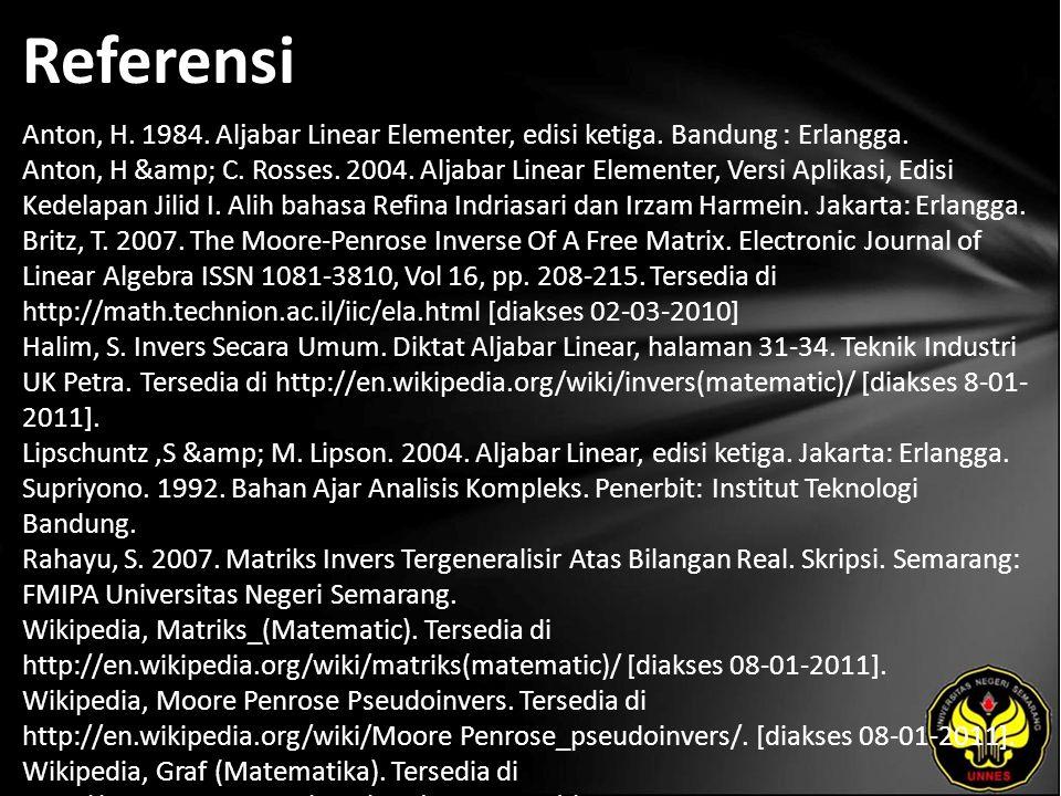 Referensi Anton, H. 1984. Aljabar Linear Elementer, edisi ketiga.
