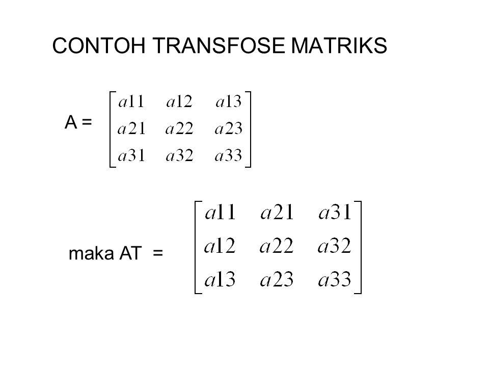 CONTOH TRANSFOSE MATRIKS A = maka AT =