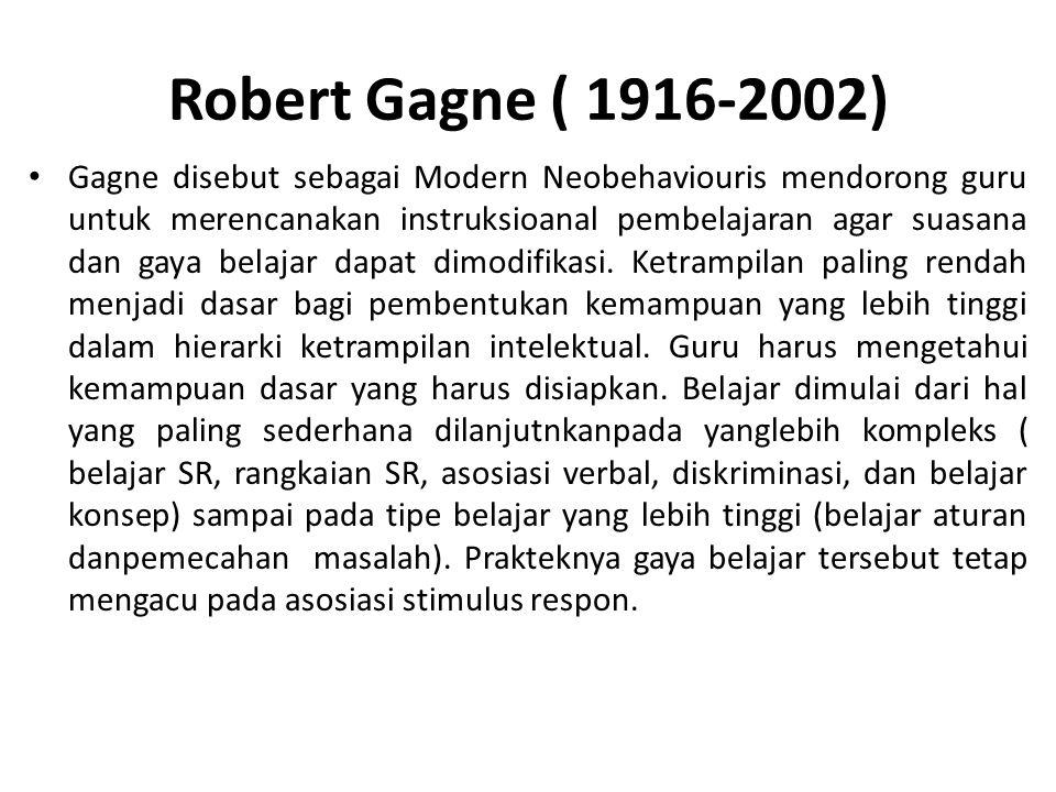 Robert Gagne ( 1916-2002) Gagne disebut sebagai Modern Neobehaviouris mendorong guru untuk merencanakan instruksioanal pembelajaran agar suasana dan g