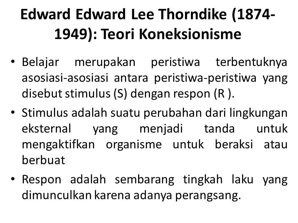 Edward Edward Lee Thorndike (1874- 1949): Teori Koneksionisme Belajar merupakan peristiwa terbentuknya asosiasi-asosiasi antara peristiwa-peristiwa ya