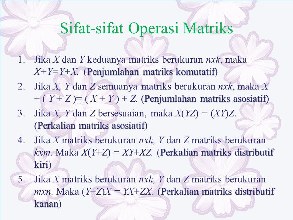 Sifat-sifat Operasi Matriks Penjumlahan matriks komutatif 1.Jika X dan Y keduanya matriks berukuran nxk, maka X+Y=Y+X. (Penjumlahan matriks komutatif)