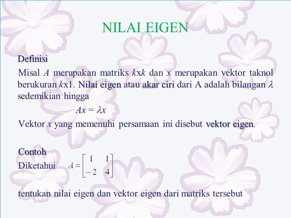 NILAI EIGEN Definisi Nilai eigen akar ciri Misal A merupakan matriks kxk dan x merupakan vektor taknol berukuran kx1. Nilai eigen atau akar ciri dari