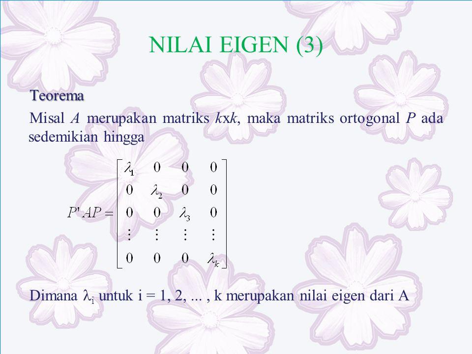 NILAI EIGEN (3) Teorema Misal A merupakan matriks kxk, maka matriks ortogonal P ada sedemikian hingga Dimana i untuk i = 1, 2,..., k merupakan nilai e