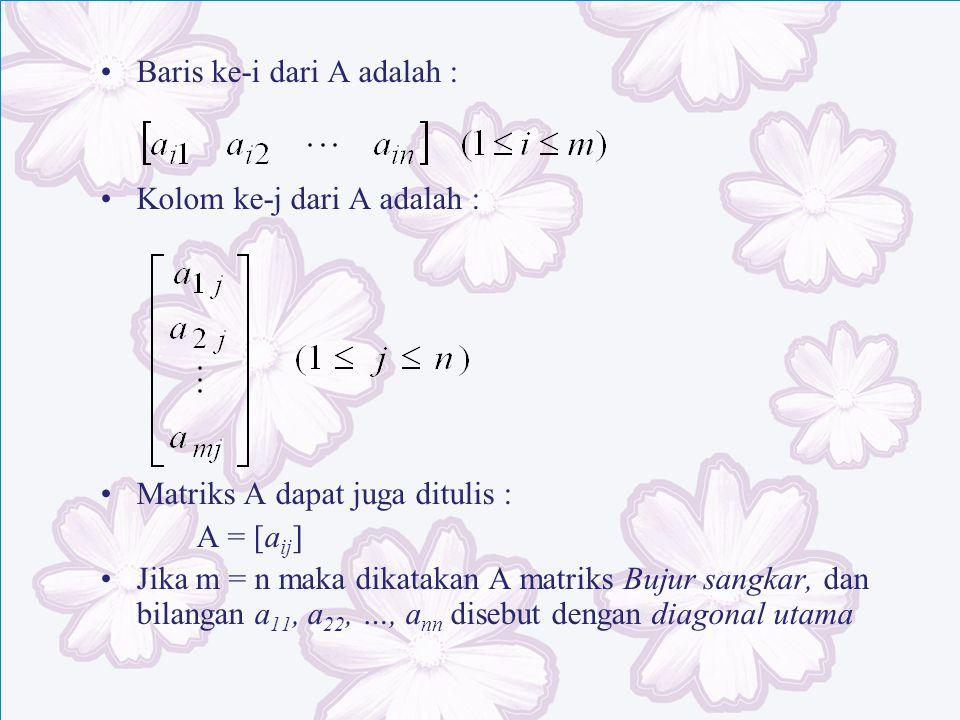 Baris ke-i dari A adalah : Kolom ke-j dari A adalah : Matriks A dapat juga ditulis : A = [a ij ] Jika m = n maka dikatakan A matriks Bujur sangkar, da