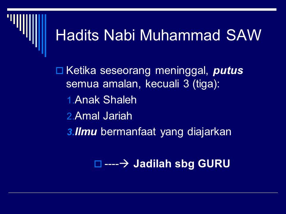 Hadits Nabi Muhammad SAW  Ketika seseorang meninggal, putus semua amalan, kecuali 3 (tiga): 1. Anak Shaleh 2. Amal Jariah 3. Ilmu bermanfaat yang dia