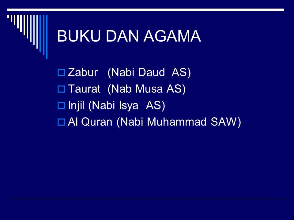 BUKU DAN AGAMA  Zabur (Nabi Daud AS)  Taurat (Nab Musa AS)  Injil (Nabi Isya AS)  Al Quran (Nabi Muhammad SAW)
