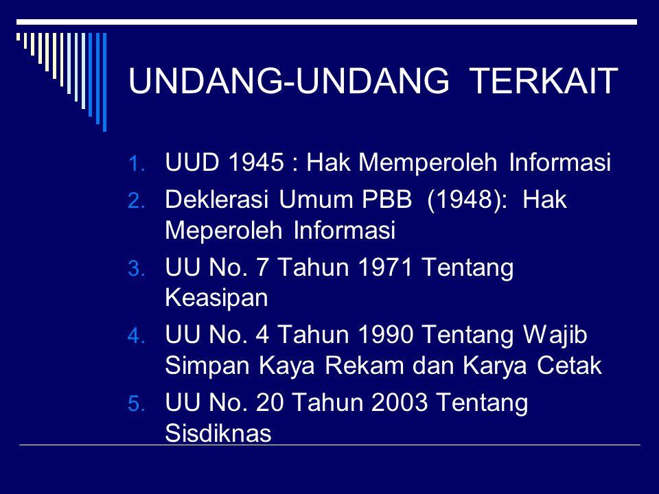 UNDANG-UNDANG TERKAIT 1. UUD 1945 : Hak Memperoleh Informasi 2. Deklerasi Umum PBB (1948): Hak Meperoleh Informasi 3. UU No. 7 Tahun 1971 Tentang Keas