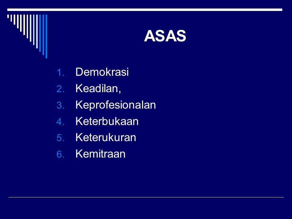 ASAS 1. Demokrasi 2. Keadilan, 3. Keprofesionalan 4. Keterbukaan 5. Keterukuran 6. Kemitraan