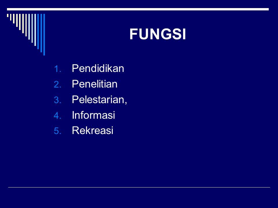 FUNGSI 1. Pendidikan 2. Penelitian 3. Pelestarian, 4. Informasi 5. Rekreasi