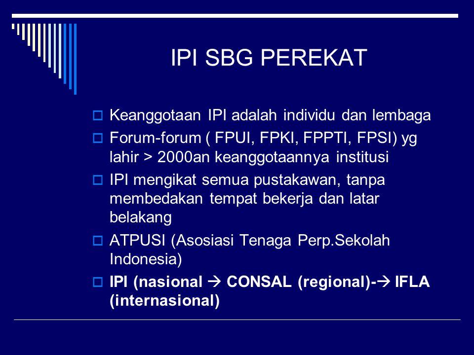 IPI SBG PEREKAT  Keanggotaan IPI adalah individu dan lembaga  Forum-forum ( FPUI, FPKI, FPPTI, FPSI) yg lahir > 2000an keanggotaannya institusi  IP