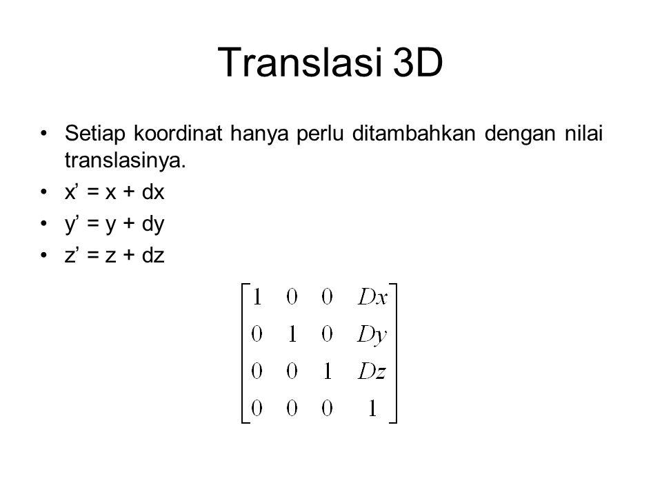 Translasi 3D Setiap koordinat hanya perlu ditambahkan dengan nilai translasinya. x' = x + dx y' = y + dy z' = z + dz