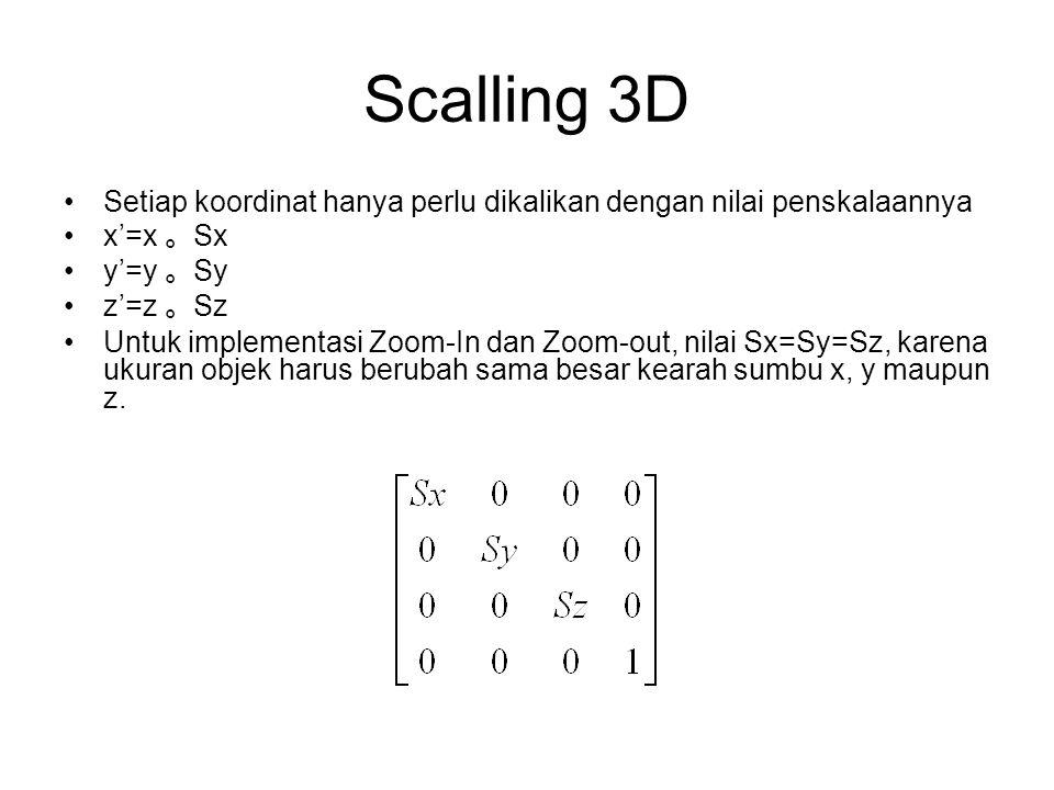 Scalling 3D Setiap koordinat hanya perlu dikalikan dengan nilai penskalaannya x'=x 。 Sx y'=y 。 Sy z'=z 。 Sz Untuk implementasi Zoom-In dan Zoom-out, n