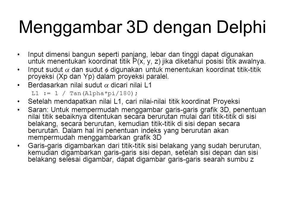 Menggambar 3D dengan Delphi Input dimensi bangun seperti panjang, lebar dan tinggi dapat digunakan untuk menentukan koordinat titik P(x, y, z) jika di