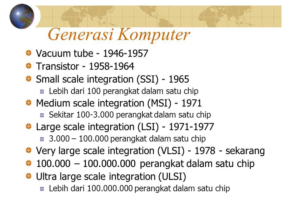 Generasi Komputer Vacuum tube - 1946-1957 Transistor - 1958-1964 Small scale integration (SSI) - 1965 Lebih dari 100 perangkat dalam satu chip Medium