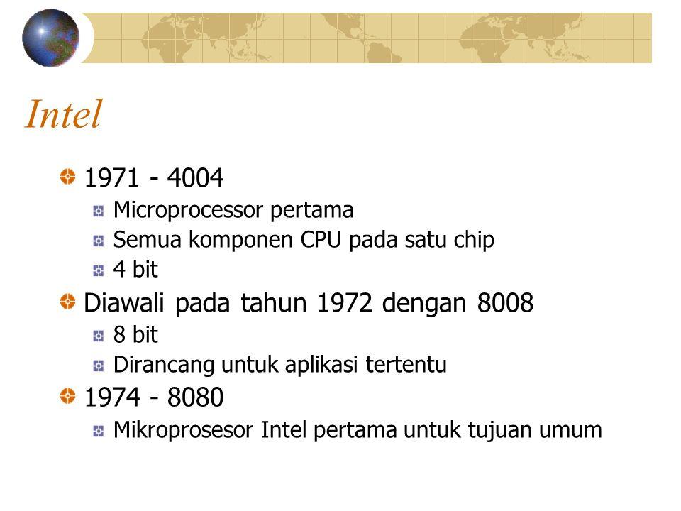 Intel 1971 - 4004 Microprocessor pertama Semua komponen CPU pada satu chip 4 bit Diawali pada tahun 1972 dengan 8008 8 bit Dirancang untuk aplikasi te