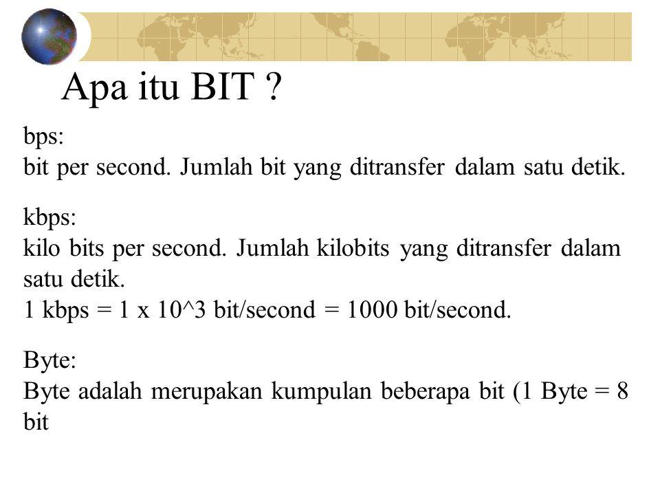 bps: bit per second. Jumlah bit yang ditransfer dalam satu detik. kbps: kilo bits per second. Jumlah kilobits yang ditransfer dalam satu detik. 1 kbps