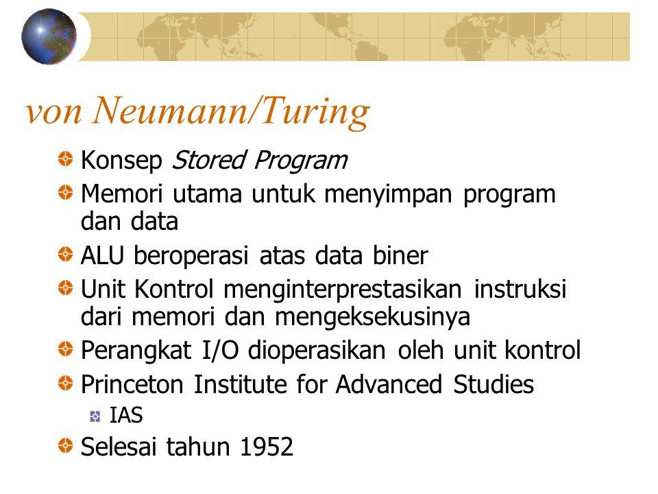 von Neumann/Turing Konsep Stored Program Memori utama untuk menyimpan program dan data ALU beroperasi atas data biner Unit Kontrol menginterprestasika