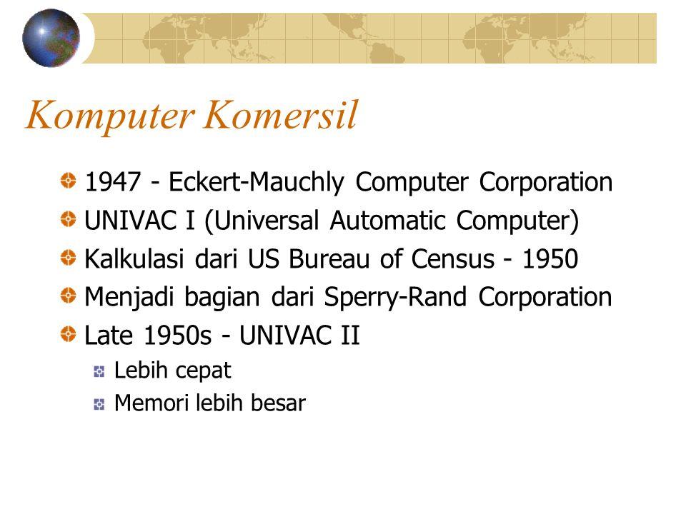 Komputer Komersil 1947 - Eckert-Mauchly Computer Corporation UNIVAC I (Universal Automatic Computer) Kalkulasi dari US Bureau of Census - 1950 Menjadi