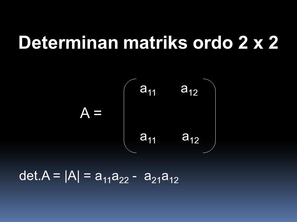 Determinan matriks ordo 2 x 2 A = det.A = |A| = a 11 a 22 - a 21 a 12 a 11 a 12