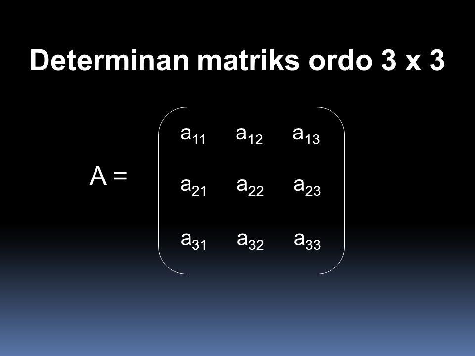 Determinan matriks ordo 3 x 3 A = a 11 a 12 a 13 a 21 a 22 a 23 a 31 a 32 a 33