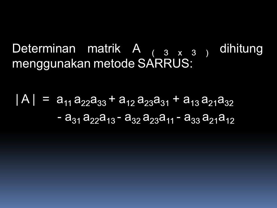 Determinan matrik A ( 3 x 3 ) dihitung menggunakan metode SARRUS: | A | = a 11 a 22 a 33 + a 12 a 23 a 31 + a 13 a 21 a 32 - a 31 a 22 a 13 - a 32 a 23 a 11 - a 33 a 21 a 12