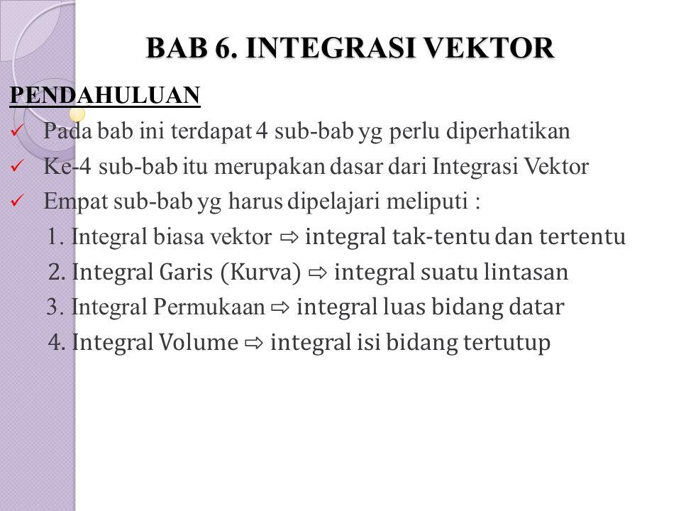 BAB 6. INTEGRASI VEKTOR PENDAHULUAN Pada bab ini terdapat 4 sub-bab yg perlu diperhatikan Ke-4 sub-bab itu merupakan dasar dari Integrasi Vektor Empat