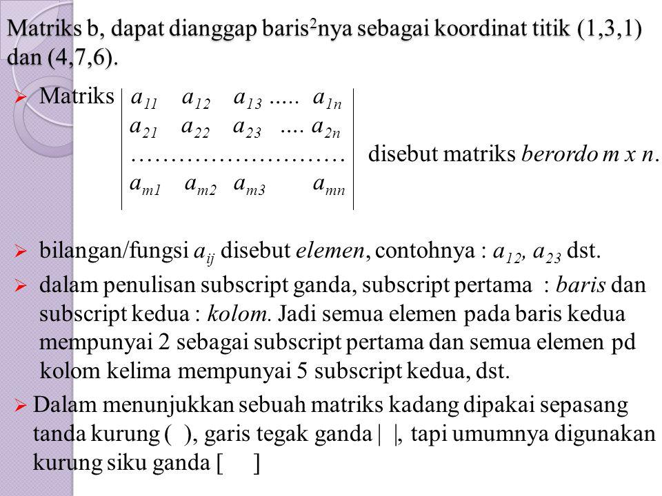 Matriks b, dapat dianggap baris 2 nya sebagai koordinat titik (1,3,1) dan (4,7,6).  Matriks a 11 a 12 a 13 ….. a 1n. a 21 a 22 a 23 …. a 2n. ……………………