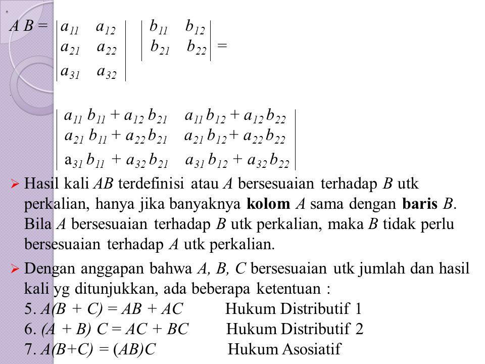 . A B = a 11 a 12 b 11 b 12. a 21 a 22 b 21 b 22 =. a 31 a 32. a 11 b 11 + a 12 b 21 a 11 b 12 + a 12 b 22. a 21 b 11 + a 22 b 21 a 21 b 12 + a 22 b 2