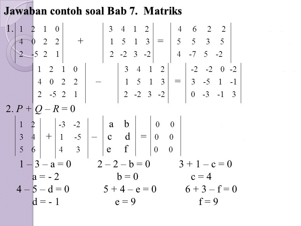 Jawaban contoh soal Bab 7. Matriks 1. 1 2 1 0 3 4 1 2 4 6 2 2... 4 0 2 2 + 1 5 1 3 = 5 5 3 5.. 2 -5 2 1 2 -2 3 -2 4 -7 5 -2 1 2 1 0 3 4 1 2 -2 -2 0 -2