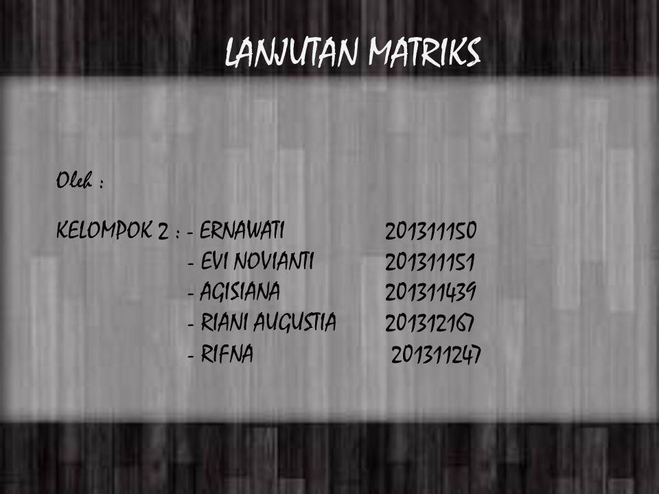 Oleh : KELOMPOK 2 : - ERNAWATI 201311150 - EVI NOVIANTI201311151 - AGISIANA201311439 - RIANI AUGUSTIA 201312167 - RIFNA 201311247 LANJUTAN MATRIKS