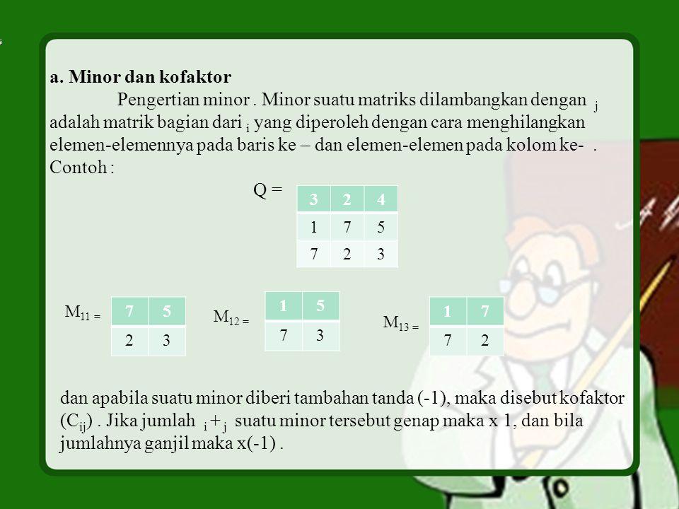a.Minor dan kofaktor Pengertian minor.