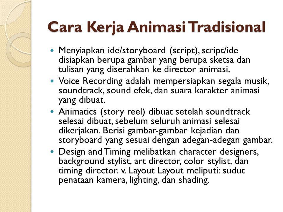 Cara Kerja Animasi Tradisional Menyiapkan ide/storyboard (script), script/ide disiapkan berupa gambar yang berupa sketsa dan tulisan yang diserahkan ke director animasi.