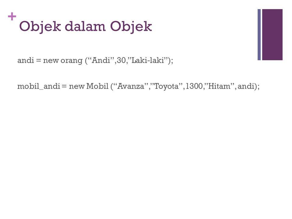 "+ Objek dalam Objek andi = new orang (""Andi"",30,""Laki-laki""); mobil_andi = new Mobil (""Avanza"",""Toyota"",1300,""Hitam"", andi);"