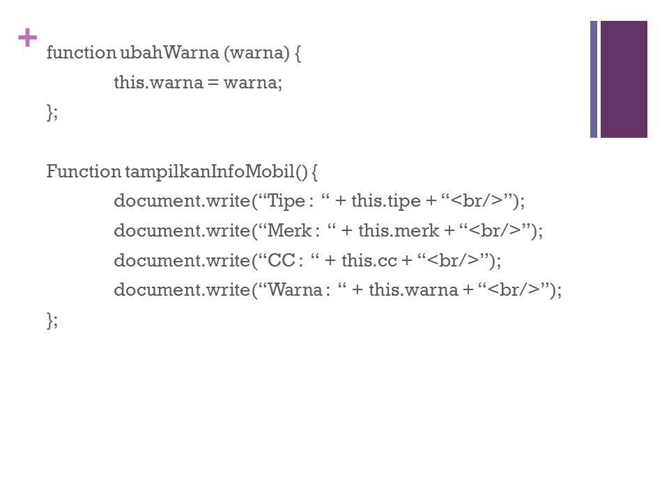 + function ubahWarna (warna) { this.warna = warna; }; Function tampilkanInfoMobil() { document.write( Tipe : + this.tipe + ); document.write( Merk : + this.merk + ); document.write( CC : + this.cc + ); document.write( Warna : + this.warna + ); };