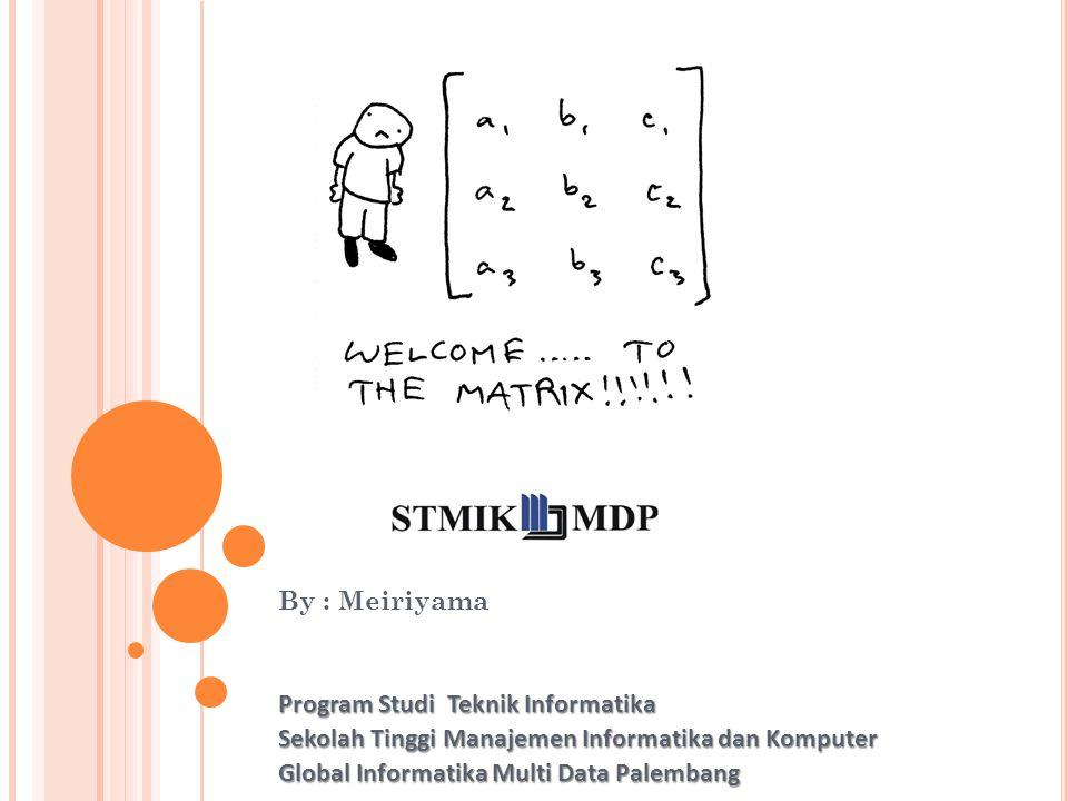 By : Meiriyama Program Studi Teknik Informatika Sekolah Tinggi Manajemen Informatika dan Komputer Global Informatika Multi Data Palembang