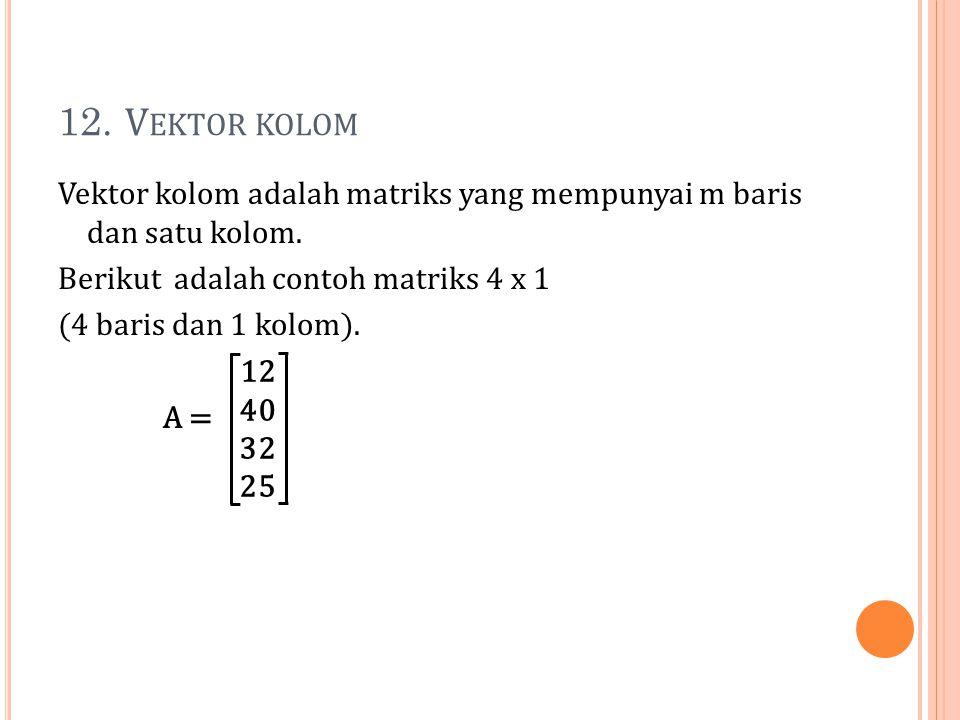 12. V EKTOR KOLOM Vektor kolom adalah matriks yang mempunyai m baris dan satu kolom. Berikut adalah contoh matriks 4 x 1 (4 baris dan 1 kolom). A = 12